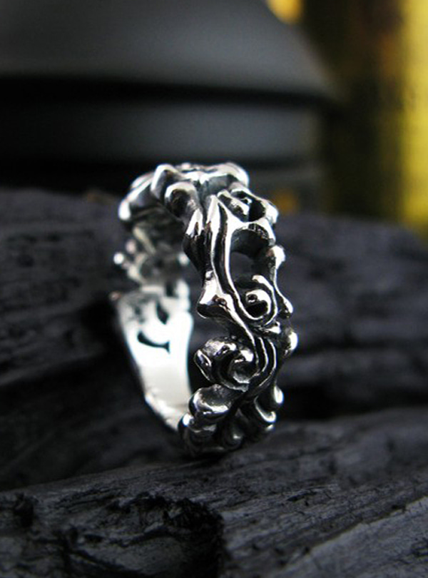 Life thread silver ring
